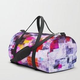 vintage psychedelic geometric square pixel pattern abstract in pink red blue purple Duffle Bag
