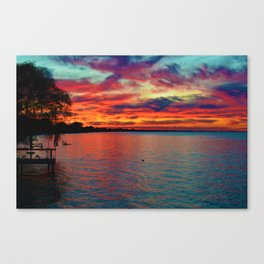 Sunset on Lake St. Clair in Belle River, Ontario, Canada Canvas Print