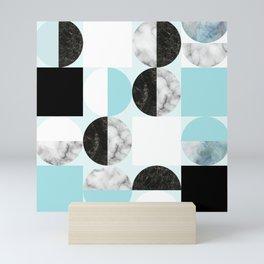 Mid Modern Moon and Sun Geometric Pattern - blue Mini Art Print