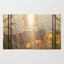 Golden Sunset - square graphic Rug