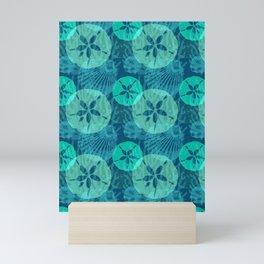 Aqua Sand Dollars and Sea Shells on Ocean Blue Mini Art Print