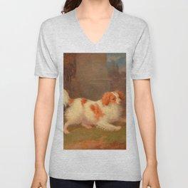 dog painting Blenheim spaniel Unisex V-Neck