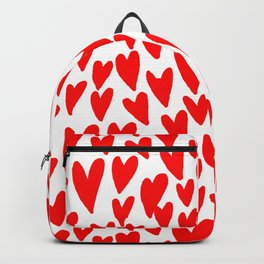 Hearts red and white love valentines day heart pattern minimal Backpack