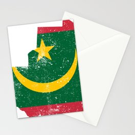 Distressed Mauritania Map Stationery Cards