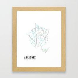 Ascutney, VT - Minimalist Winter Trail Art Framed Art Print