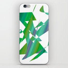 geometrical abstract shapes of green and blue iPhone Skin