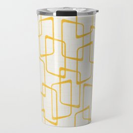 Reverse Yellow Retro Geometric Pattern Travel Mug