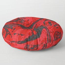 Black & Red Marble II Floor Pillow