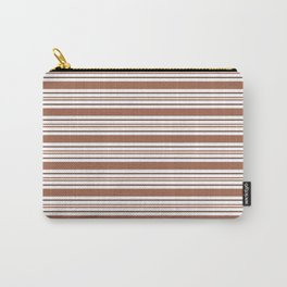 Sherwin Williams Cavern Clay SW7701 Tri-color Thick and Thin Horizontal Lines Bold Stripes Carry-All Pouch