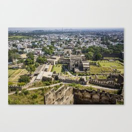 Looking down at the Ruins of Golconda Fort, into the Old Area of the City in Hyderabad, India Canvas Print