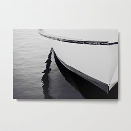 Reflections Black and White Nautical Boat Metal Print