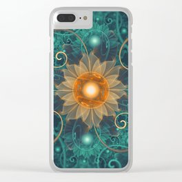 Beautiful Tangerine Orange and Teal Lotus Fractals Clear iPhone Case