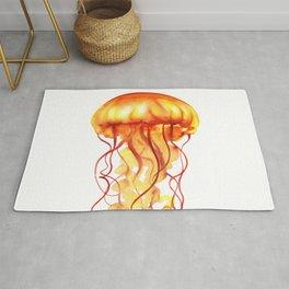 Yellow & Orange Abstract Watercolor Jellyfish Minimalist Coastal Art - Coast - Sea - Beach - Shore Rug