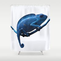 chameleon Shower Curtains featuring Chameleon by DistinctyDesign