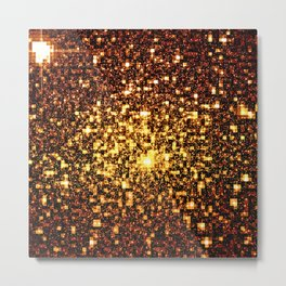 24k Gold Geometric Galaxy Stars Metal Print