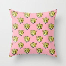 pink jaguar Throw Pillow