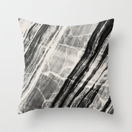 Abstract Marble - Black & Cream Throw Pillow