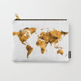 World Map Burnt Orange Brown Vintage Carry-All Pouch