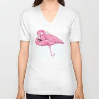 flamingo V-neck T-shirts featuring Flamingo by dogooder