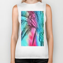 isolate palm tree with painting abstract background in pink and blue Biker Tank