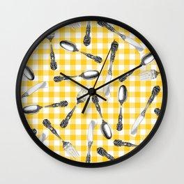 Utensils on Yellow Picnic Blanket Wall Clock