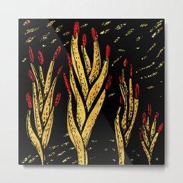 Gold aloe hands Metal Print