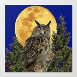 NIGHT OWL WITH FULL MOON Canvas Print