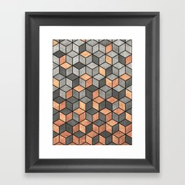 Concrete and Copper Cubes Framed Art Print
