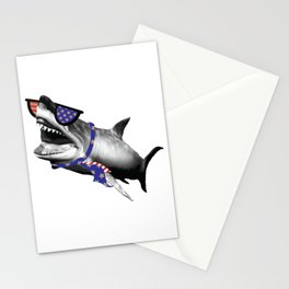 Patriotic Shark With USA Flag Sunglasses and Necktie product Stationery Cards
