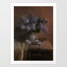 When the rain comes - still life with fresh lilacs and china set Art Print