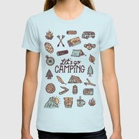 Lets Go Camping Light Blue Womens Fitted Tee LARGE