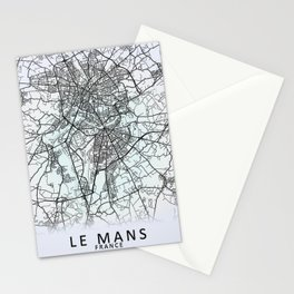 Le Mans, France, White, City, Map Stationery Cards
