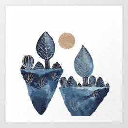 Indigo & gold landscape 10 Art Print