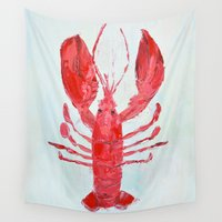 lobster Wall Tapestries featuring Coastal Lobster by Ann Marie Coolick