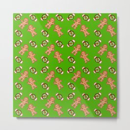 Cute lovely decorative green winter Christmas pattern. Gingerbread men and candy. Metal Print