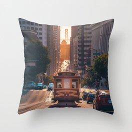 San Francisco Trolley (Color) Throw Pillow