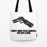gun Tote Bags featuring gun by muffa