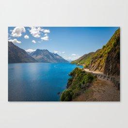Scenic winding road at Lake Wakatipu, New Zealand Canvas Print