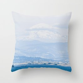 Lake to Peak // Snowy Blue Fog Mountain View Oregon Landscape Photograph Throw Pillow