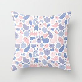 Colors Of The Year Doodle - Rose Quartz & Serenity - Pantone Throw Pillow
