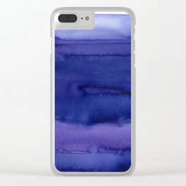 Blue Violet Watercolor Horizontal Stripes Abstract Clear iPhone Case