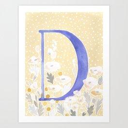 Lette D Blush Poppy Watercolor Monogram Art Print