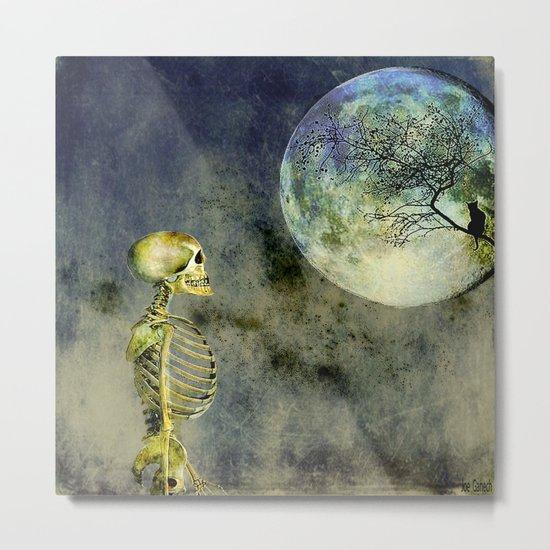 Skeleton in clear of the moon Metal Print