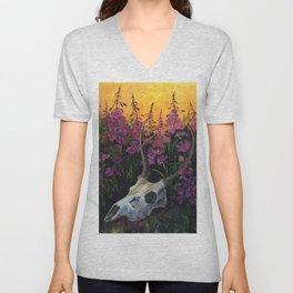 Deer skull in Fireweed Unisex V-Neck