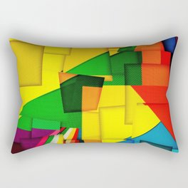 Abstract collage of backgrounds of corrugated colored cardboard Rectangular Pillow