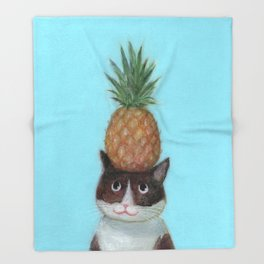 Pineapple Cat Throw Blanket