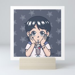 Milk Shake Anime Girl Mini Art Print