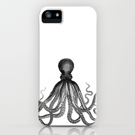 Antique Nautical Steampunk Octopus Vintage Victorian Kraken sea monster emo goth drawing iPhone Case