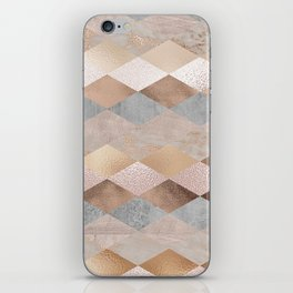 Copper and Blush Rose Gold Marble Argyle iPhone Skin
