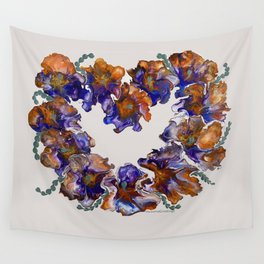 Loving Flowers Pansy Heart Wall Tapestry